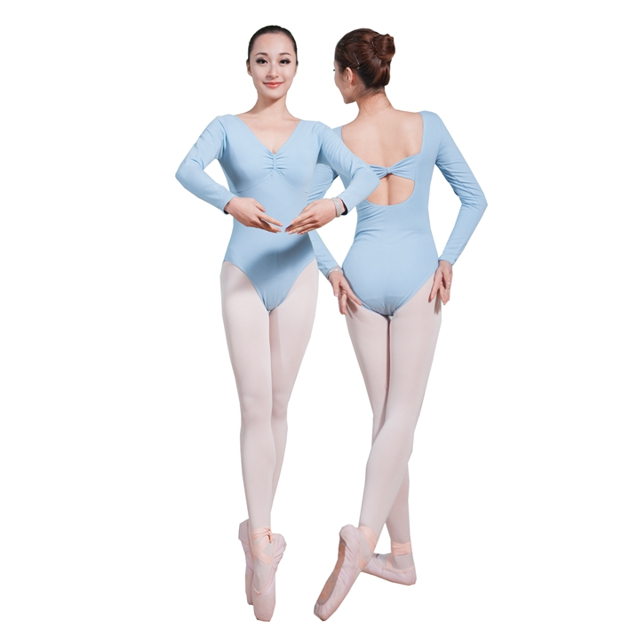 CL00452 China Dancewear Sexy Long Sleeved Key Hole Back Pinched Front Leotards ballet Girls