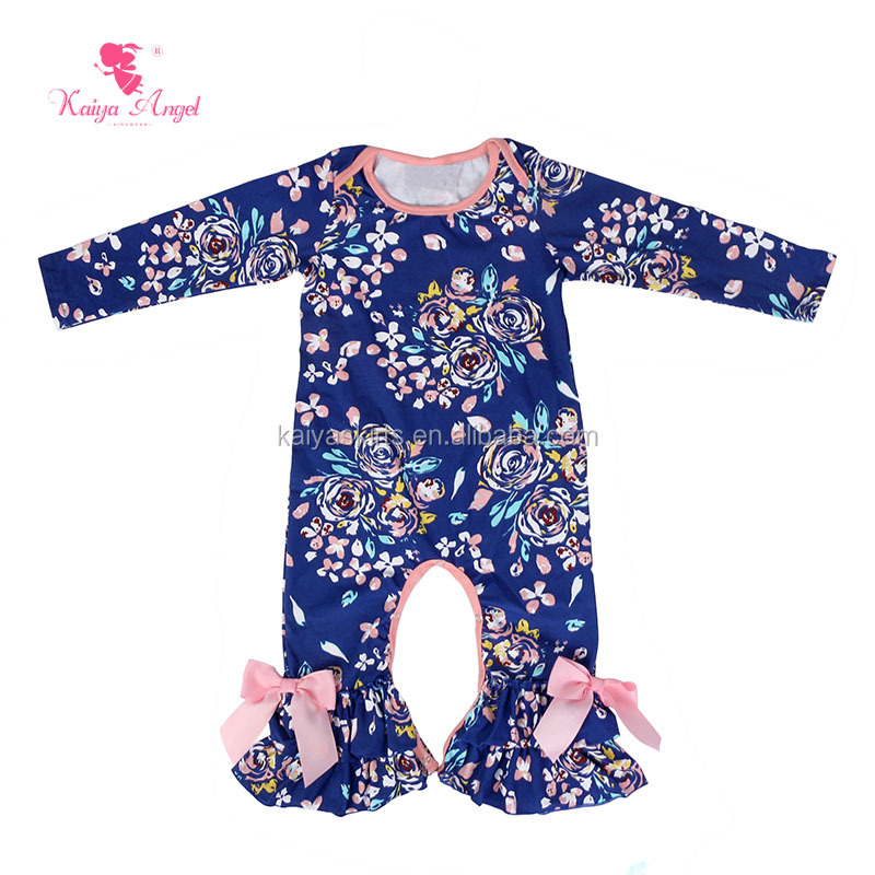 Hot Sale Newborn Baby Clothing Toddler Winter Romper Baby Girls Long Sleeve Leg Rompers with Bow