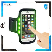 Wholesale sport mobile phone bag safety reflective armband led lighted armband for running
