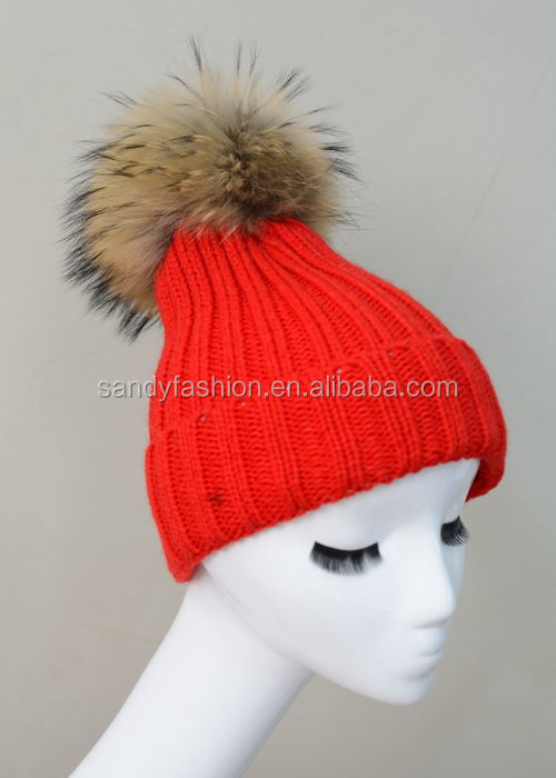 Latested Style Knit Hat Winter Genuine Fox Fur Pom Poms Knitted Fur Bobble Hat