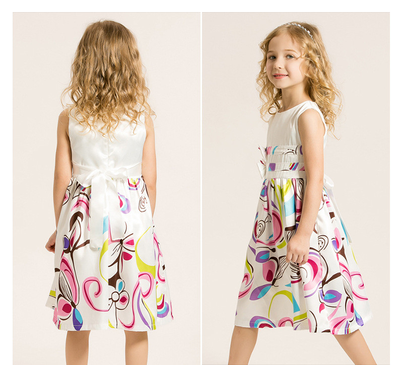 Europe and America style girls baby dress modern white color bow floral print chiffon dress