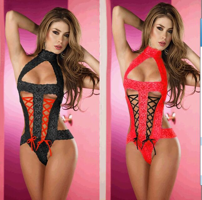 Hot sale Sexy Ladies Deep V-neck Hollow Out Women Bodysuit 2017 New Cheap Sexy Teddy Lingerie