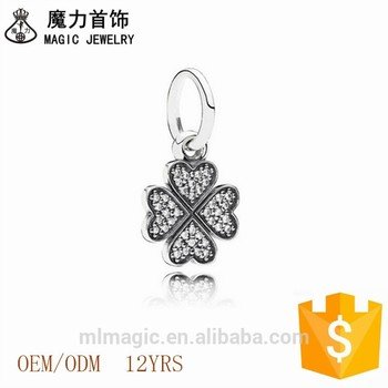 European Lucky Hanging Charm In Love Four-Leaf Clover Silver And Cubic Zirconia