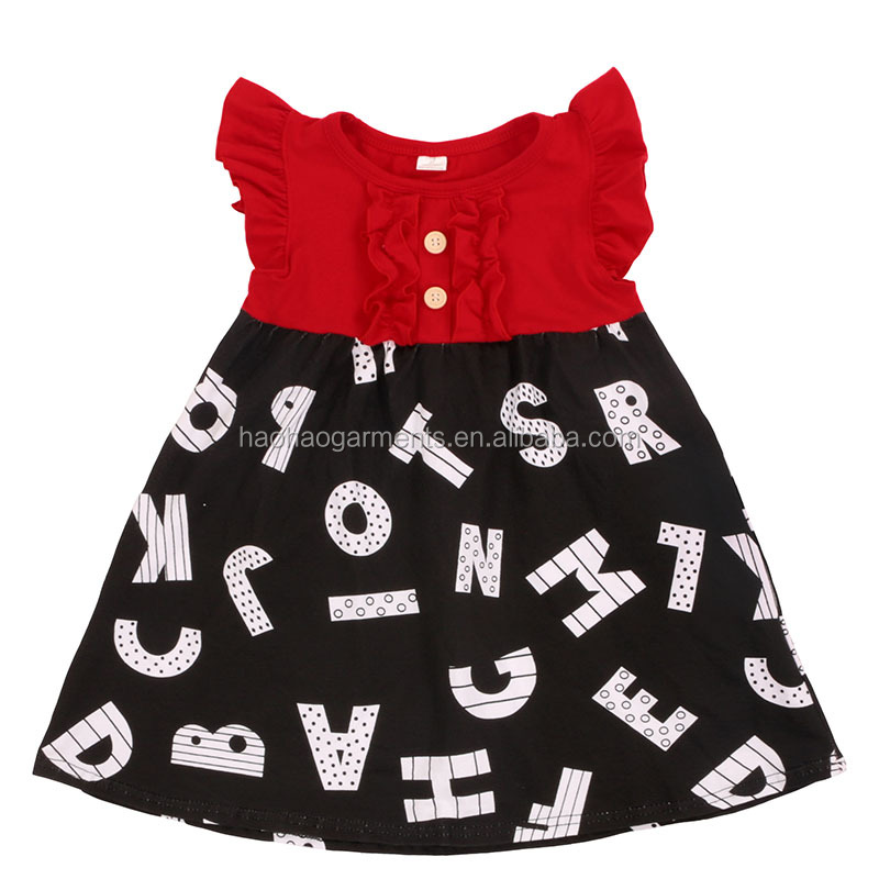 Wholesale Toddler Girl Back To School Dress Baby Clothing Flutter Sleeves Kids Frocks