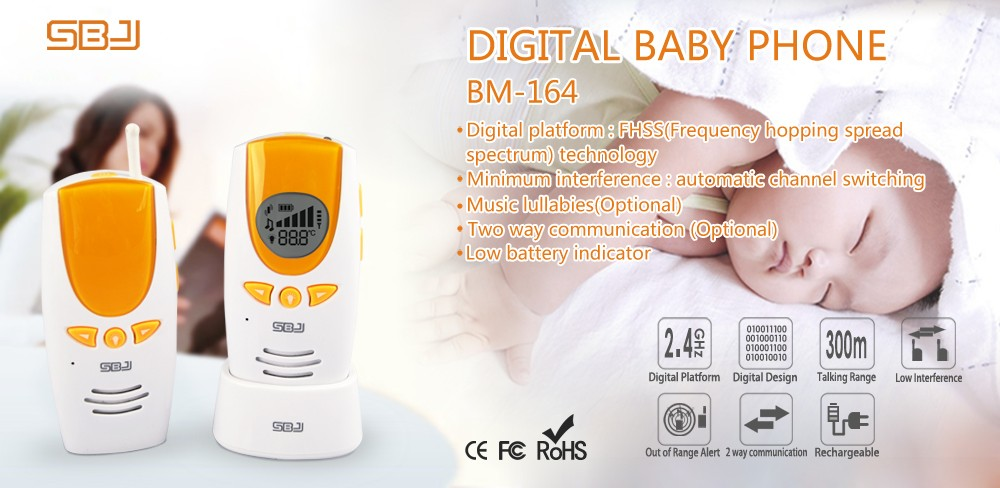 2.4GHz digital platform Wireless LCD Color Audio Baby Phone with Music