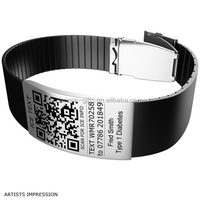 metal clip engrave id silicone bracelet with qr code