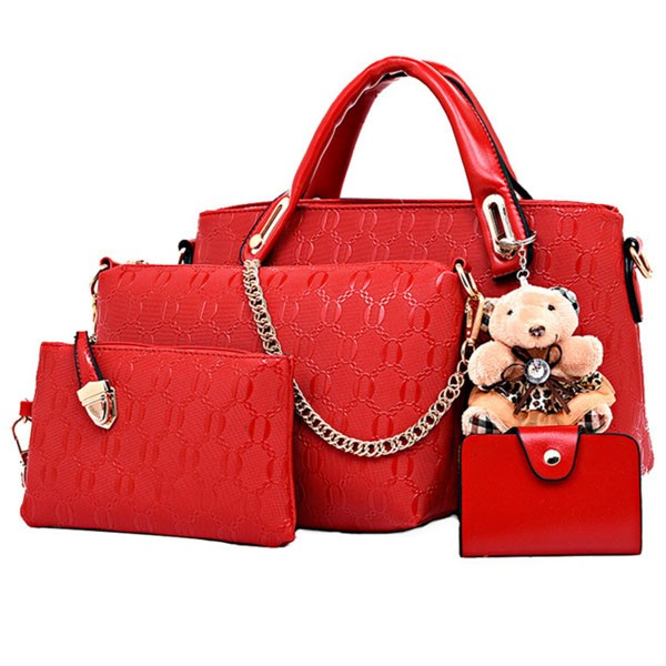women leather handbag ladies hand bags designer 5 set with bear pendant