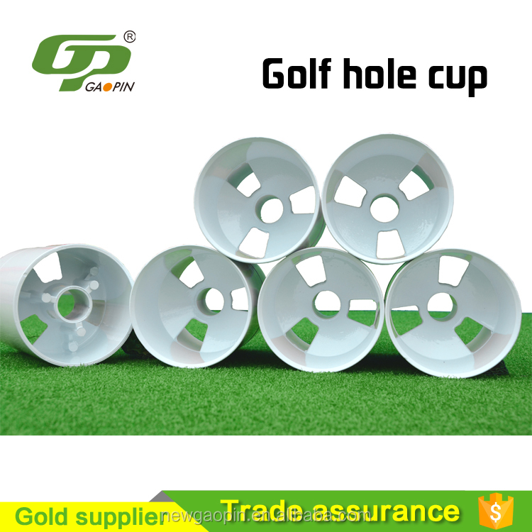 Golf hole cup for flag planting