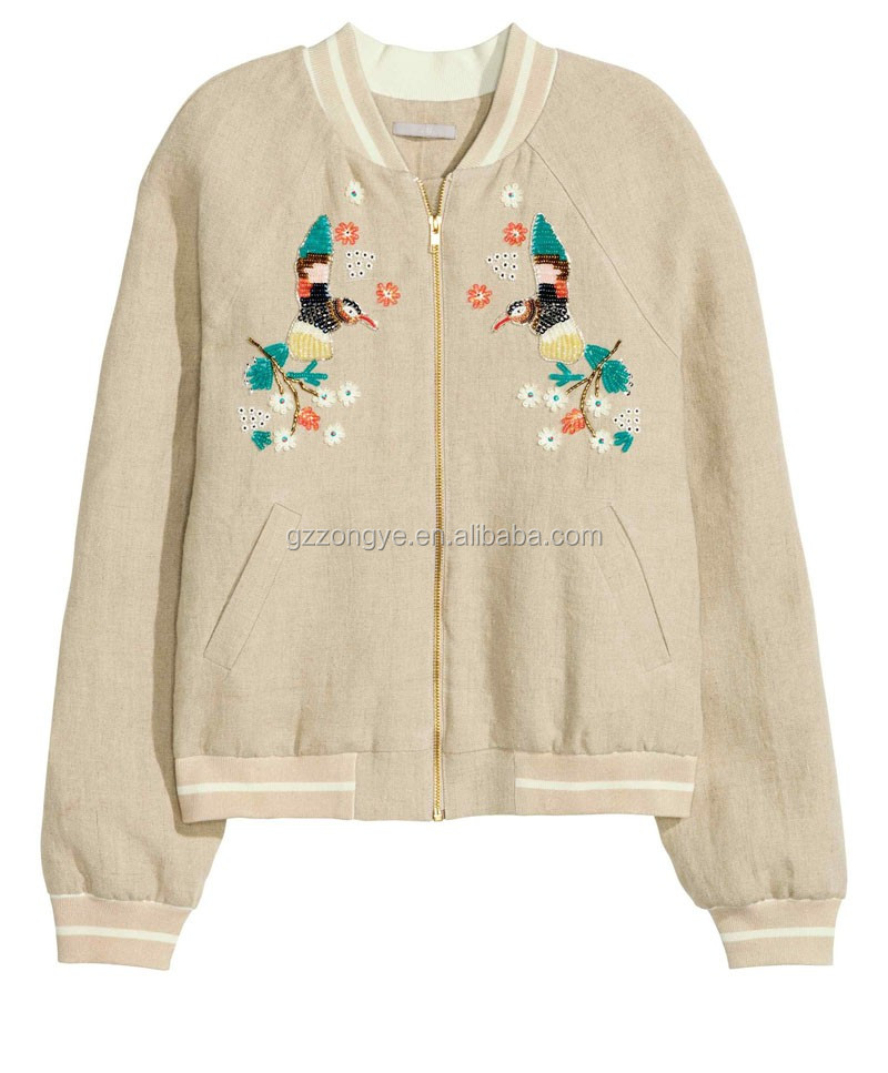 Embroidered pattern and front zipper price for manufacturing jackets for women