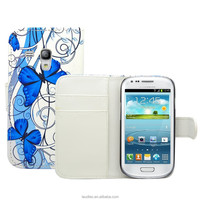 Flower Leather Wallet Case for Samsung Galaxy S3 Mini i8190 IN STOCK !!