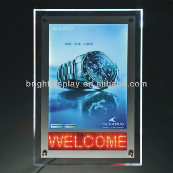 <strong>LED</strong> crystal display light box with <strong>LED</strong> moving message from factory