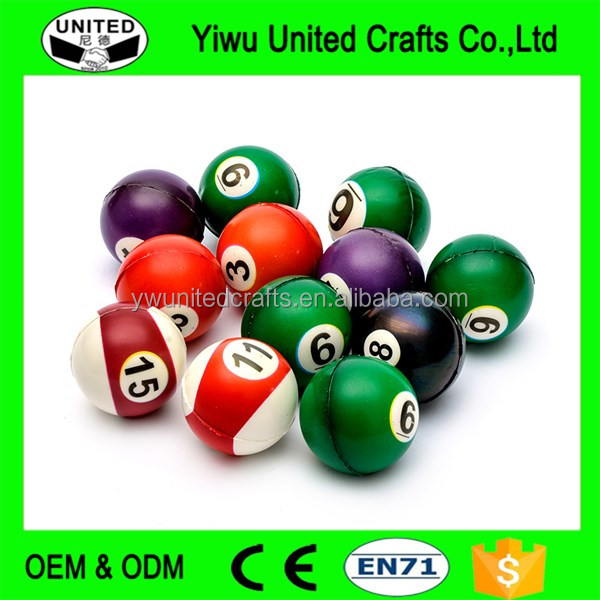 Snooker Billiards Shape Hand Stress Relief Ball PU Squeeze Stress Ball