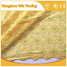 2016 Yellow color 120-130cm latest hand beaded corded net bridal lace embroidery for aso ebi 2016