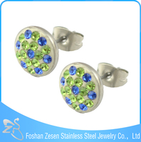 ZS20174 stainless steel crystal earring , wholesale earring factory , polymer clay earring