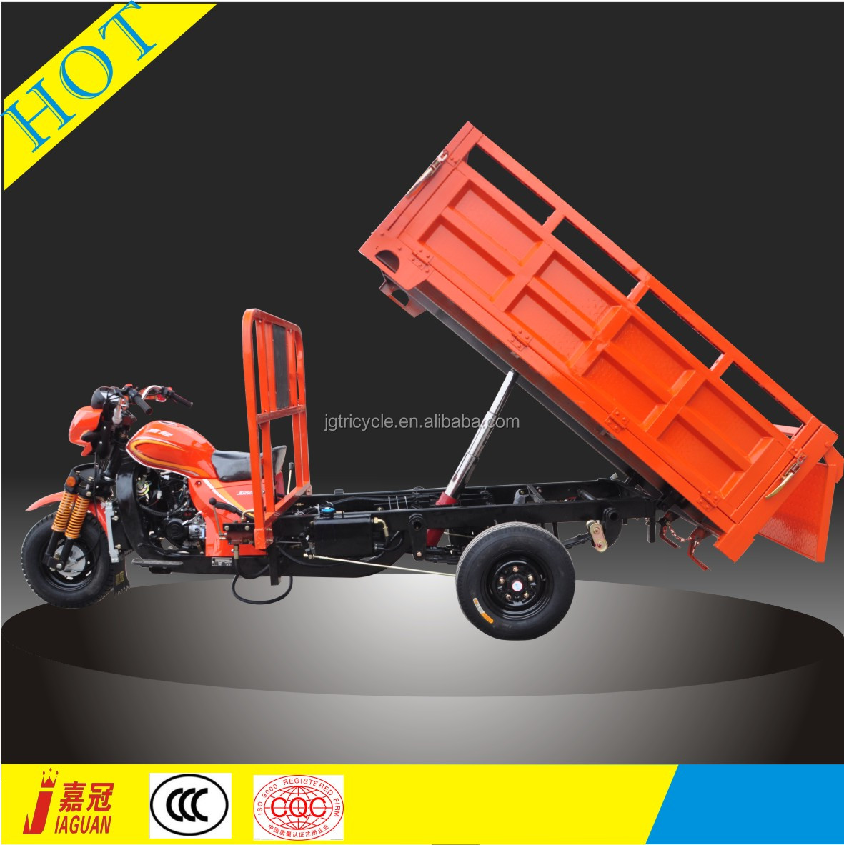 Hydraulic dumping reverse 3 wheel motorcycle for adults