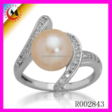 2017 Christmas GIRL FASHION diamond crystal TOP SELLING SILVER PEARL ENGAGEMENT RINGS