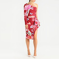 HL24210 new products simple design red bird floral digital print jersey dress