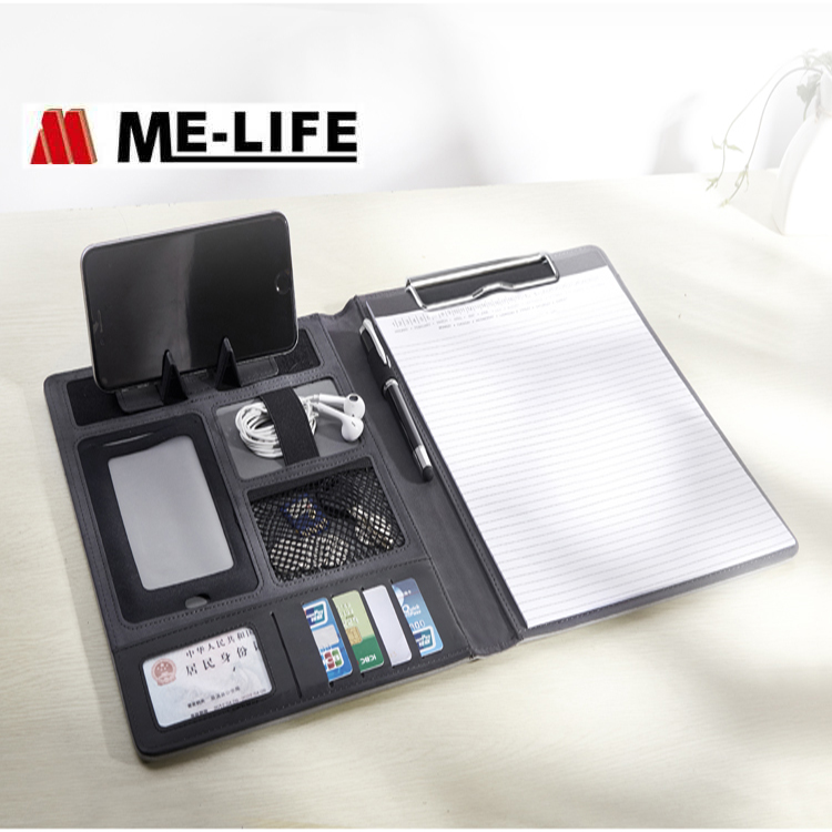 A4 multi function folder USB pu leather business card file folder