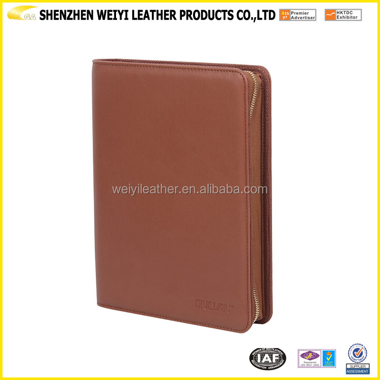 2017 Hardcover Zipper Leather Padfolio with Power Bank