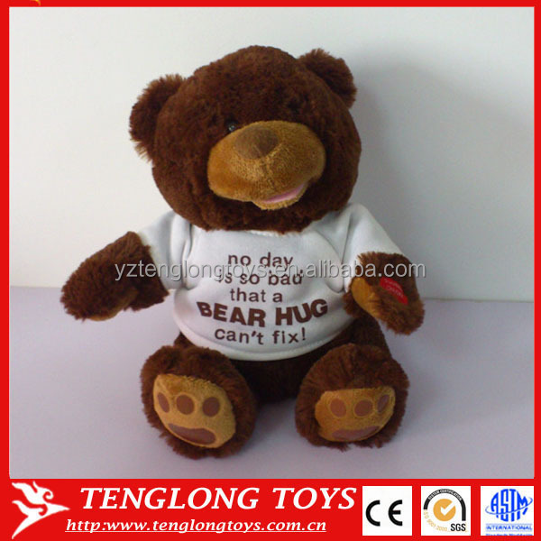 My singing bear toy custom talking plush toy