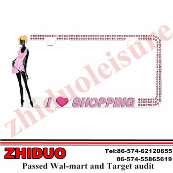 "OEM 6*12"" Girl Love Shopping Chrome Zinc License Plate Frame"