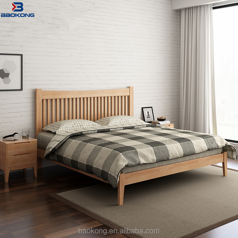 New Model High Back Pure Solid Wood Double Bed Design Furniture