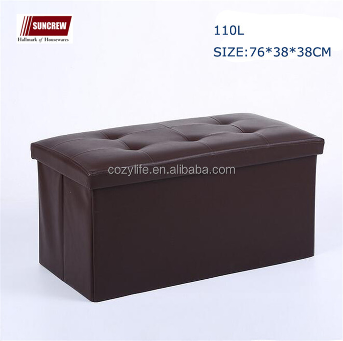 Folding Storage Cube Ottoman Bench Faux Leather Storage Stool