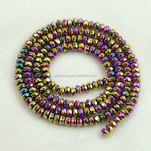 5x8mm faceted rondelle rainbow plated hematite beads gemstone semiprecious stone beads