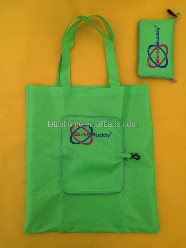Folding nylon tote bag folding bag into pouch shopping bag with logo customized