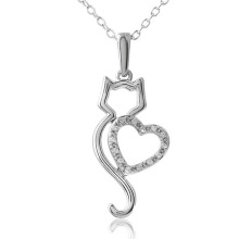 crystal cat animal heart necklace