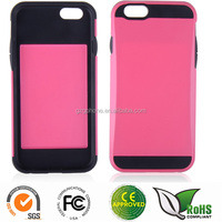 TPU+PC cover back case for iphone6 with card slot and metal UV coating
