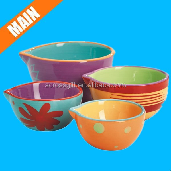 4-piece Ceramic Nesting Decorated Prep Bowl Set - Buy Bowl ...