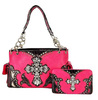 2015 new western style handbags and wallet set with rhinestone cross