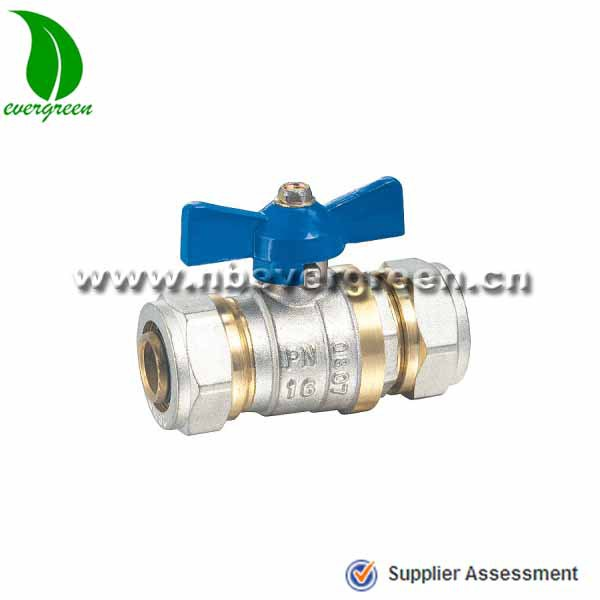 oil and gas PN16 brass ball valve with aluminium butterfly handle