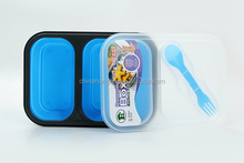 foldable mircoware safe double case food storage ,silicone fresh container,picnic lunch box with spoon and fork