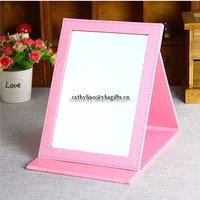 Small desktop pu cosmetic mirror/make up mirror
