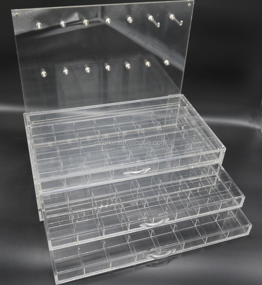 acrylic DIY gemstone beaded jewelry display case with hangers,3 drawers acrylic jewelry display case for pandora beads