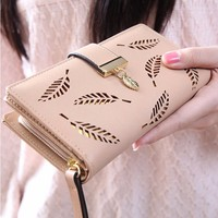 handmade craft change brand purse Manufacturer Custom PU And Genuine leather wallet