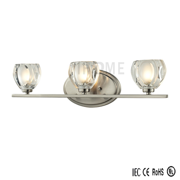 Clear Cut Glass 3 Light Bath Vanity Lighting Wall Fixtures