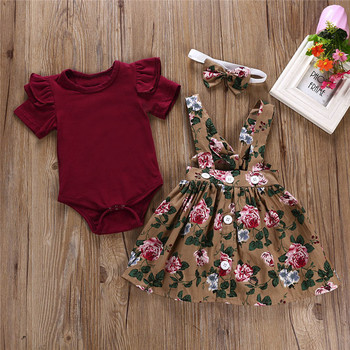 Europe hot sale fashion baby girl clothes set short sleeve romper + flower dress + hairband 3pcs kid girls dress sets