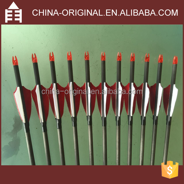 High Quality Archery Carbon Fiber Arrows with 2.5 Inches Feather and Replaceable Tips