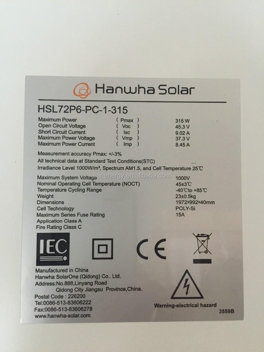 Hanwha Solar Panel In Stock 300w 310w 320w Hsl72p6 Pc 1