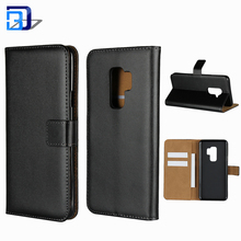 Genuine Leather Case Stand Card Slots ID Holder Magnetic Closure Flip Folio Book Case Wallet Cover For Samsung Galaxy S9 Plus