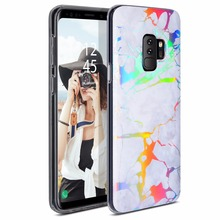 TPU marble Holographic Soft TPU Hybrid Bumper Protective Cover Case for Samsung Galaxy S9+ Plus