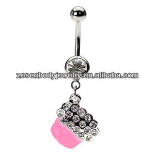 german epoxy navel ring with crystal dangling cupcake belly body piercing jewelry stainless steel jewelry