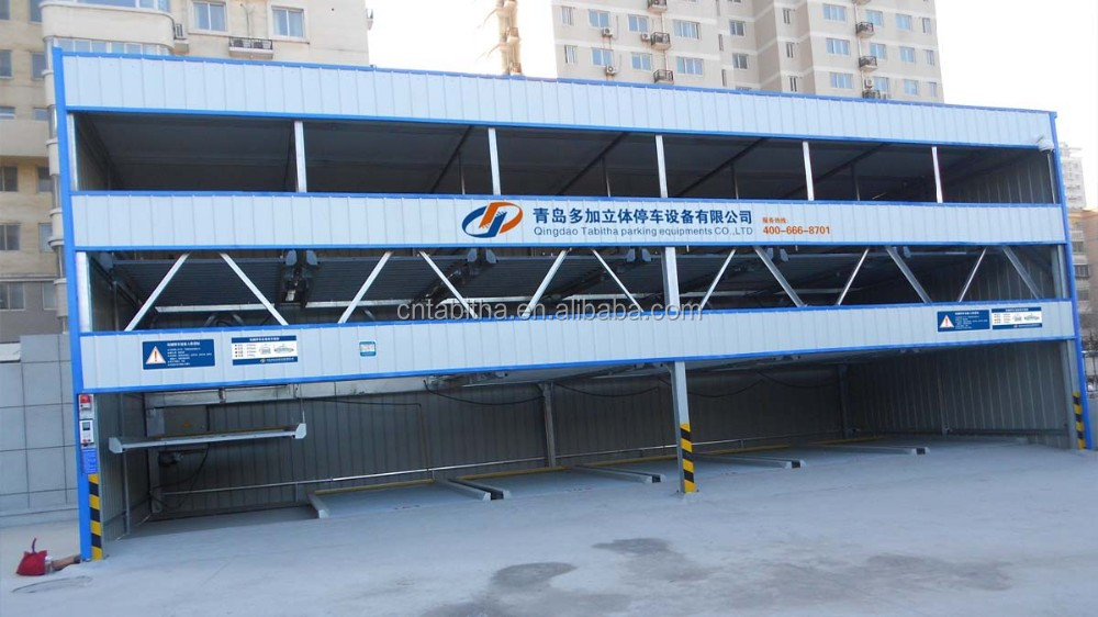 Lift and slide parking system. 2~7 levels puzzle parking system