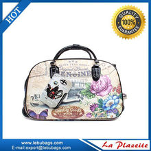 Pu leather suitcase, print travel trolley luggage bag, travel bag on wheels