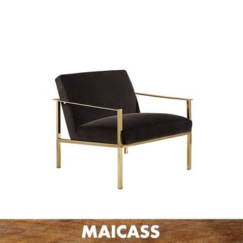 Golden stainless steel velvet armchair
