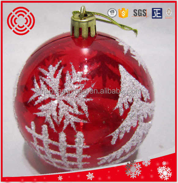 shiny red transparent decorative printed christmas ball