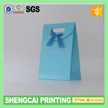 Blue color paper gift bag with bow-tie